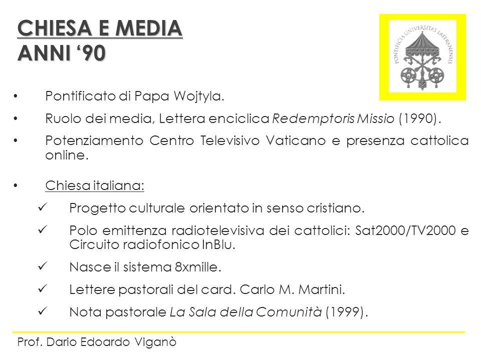 CHIESA E MEDIA ANNI '90 Pontificato di Papa Wojtyla.