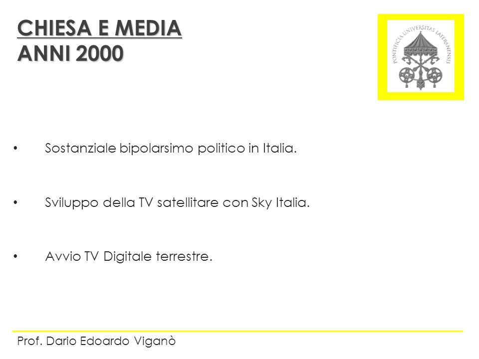 CHIESA E MEDIA ANNI 2000 Sostanziale bipolarsimo politico in Italia.