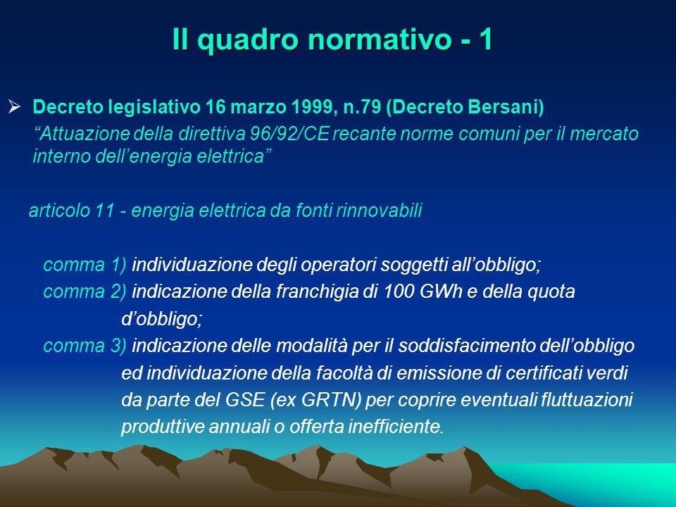 Il quadro normativo - 1 Decreto legislativo 16 marzo 1999, n.79 (Decreto Bersani)