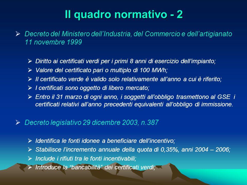 Il quadro normativo - 2 Decreto del Ministero dell'Industria, del Commercio e dell'artigianato 11 novembre 1999.