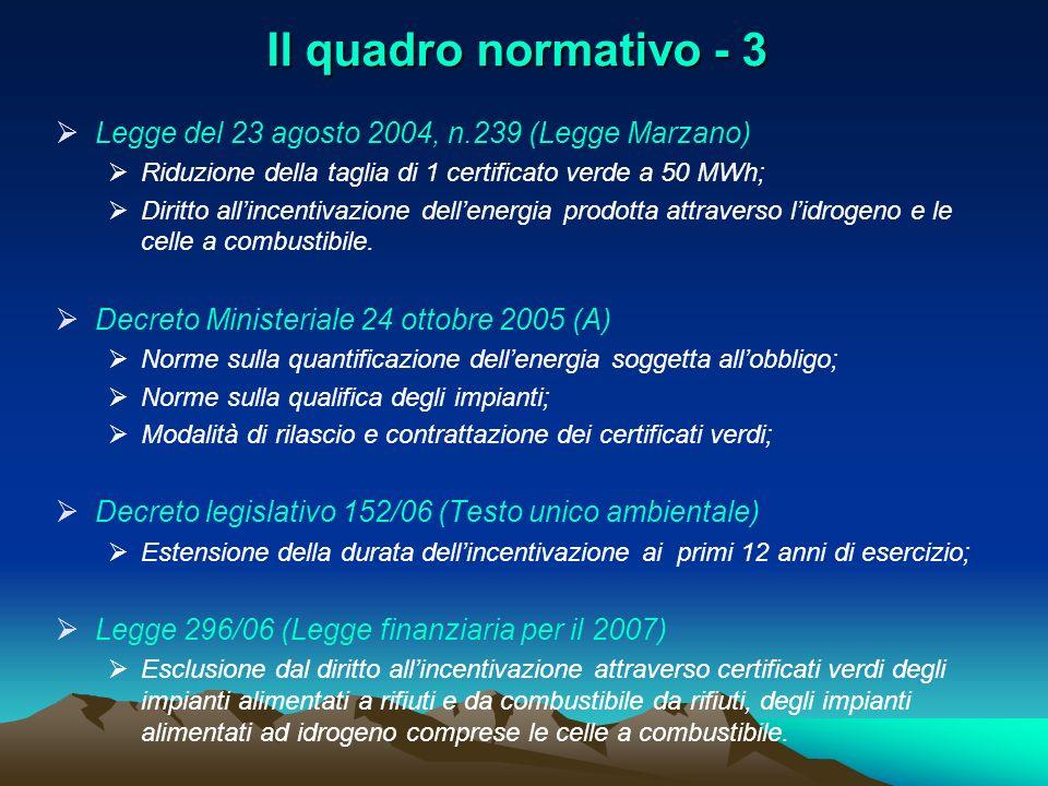 Il quadro normativo - 3 Legge del 23 agosto 2004, n.239 (Legge Marzano) Riduzione della taglia di 1 certificato verde a 50 MWh;