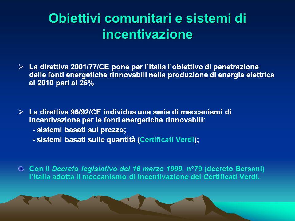Obiettivi comunitari e sistemi di incentivazione