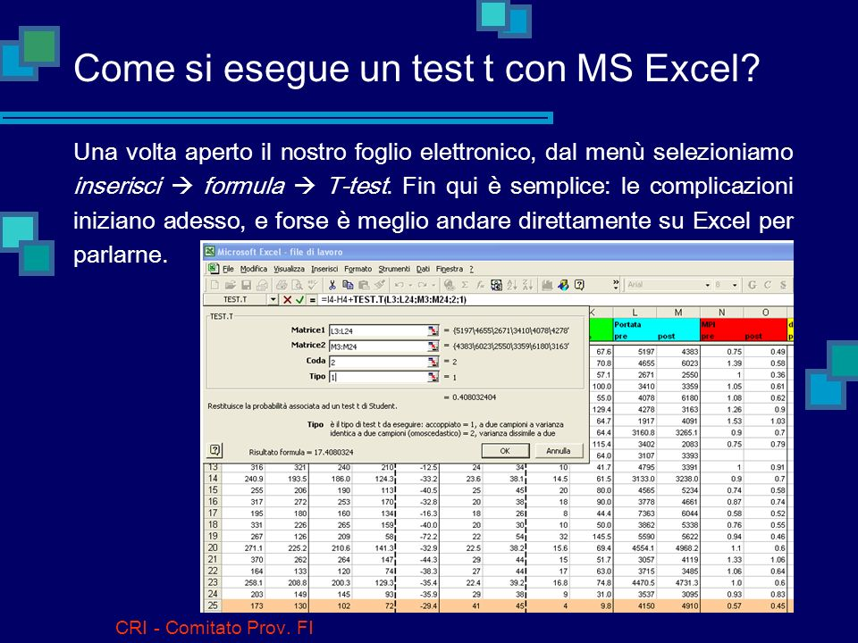 Come si esegue un test t con MS Excel
