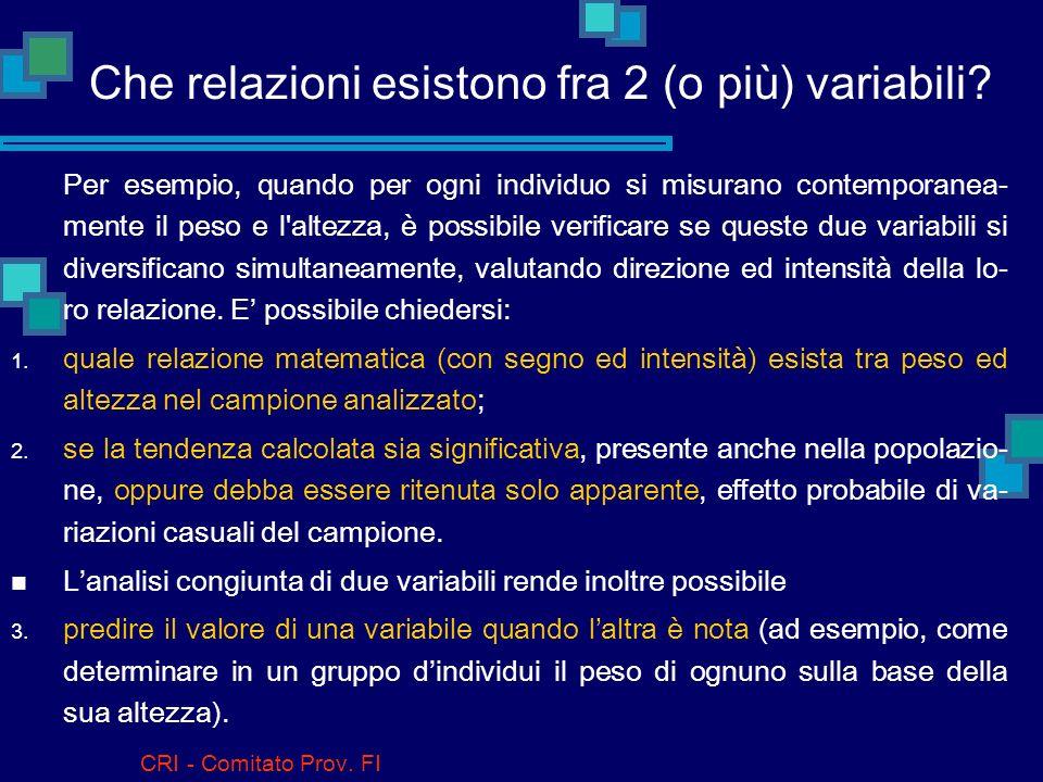 Che relazioni esistono fra 2 (o più) variabili