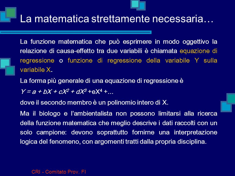 La matematica strettamente necessaria…