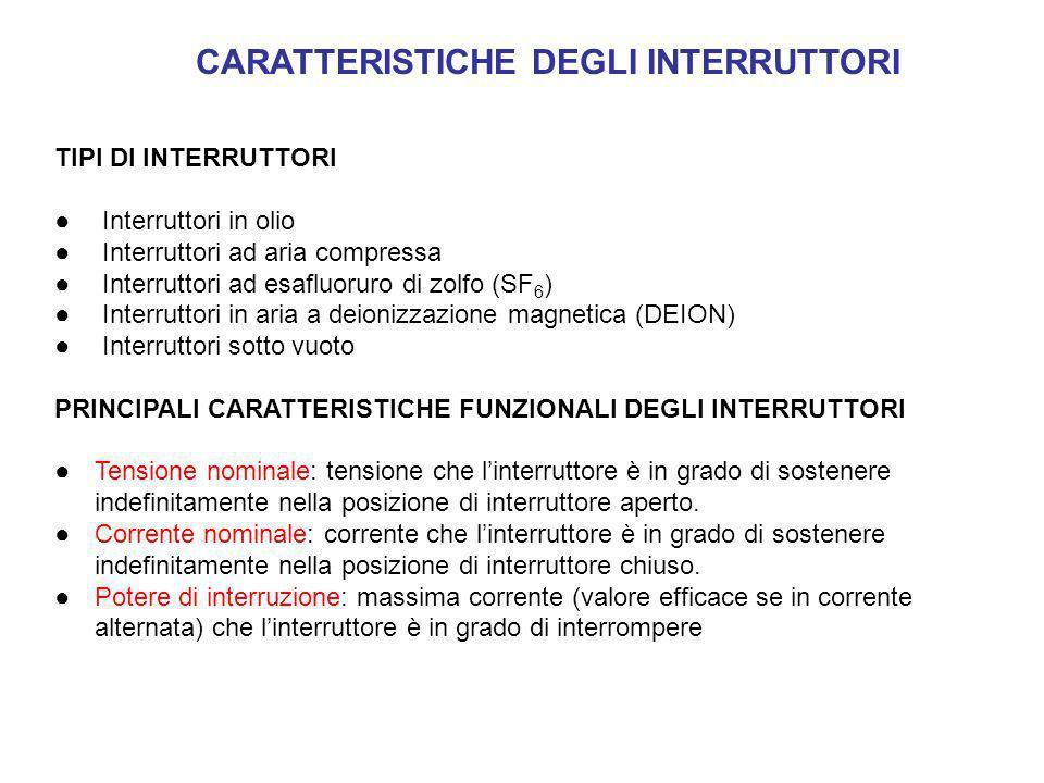 CARATTERISTICHE DEGLI INTERRUTTORI