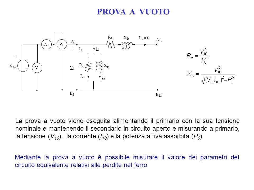 PROVA A VUOTO R1t. X1t. Ra. X I1. B1. A1. + A12. B12. I12 = 0. V1. Ia. I0. Im. V1n.