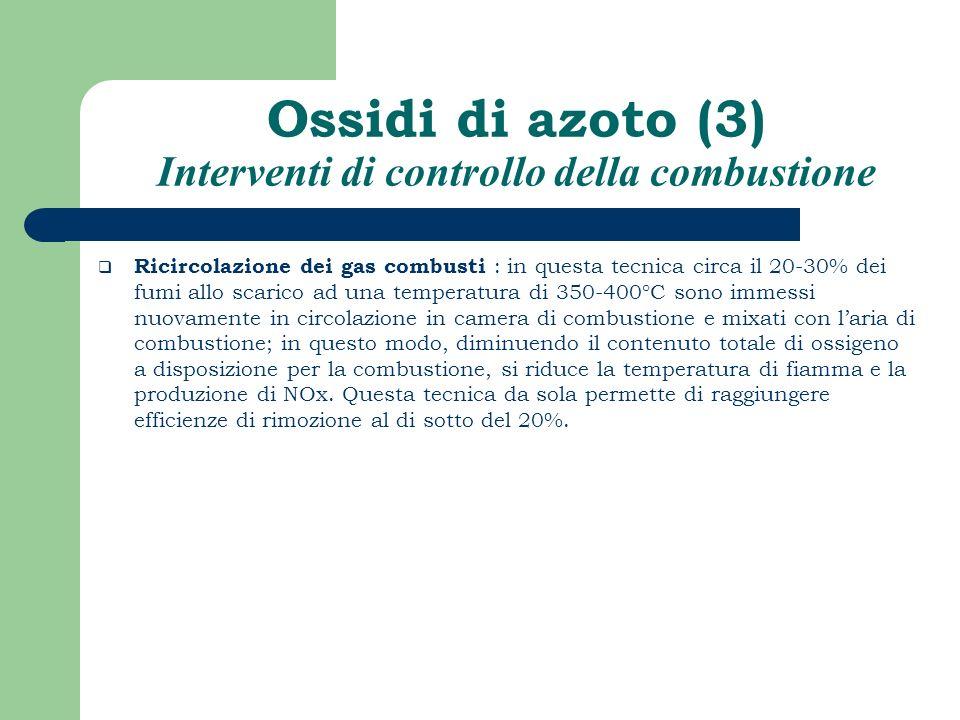Ossidi di azoto (3) Interventi di controllo della combustione