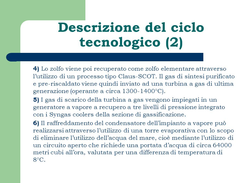 Descrizione del ciclo tecnologico (2)