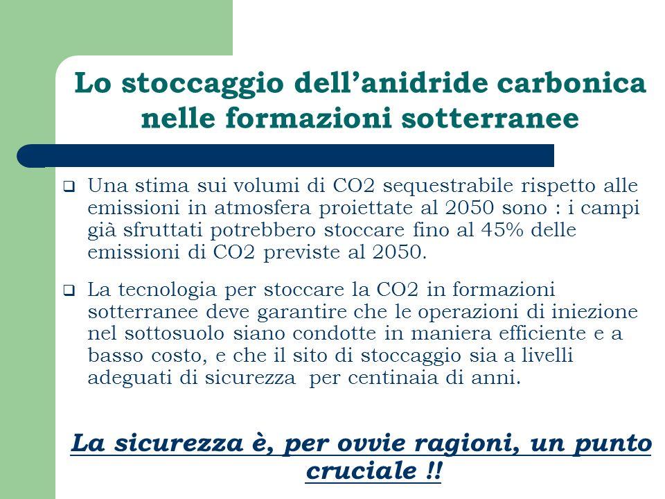 Lo stoccaggio dell'anidride carbonica nelle formazioni sotterranee