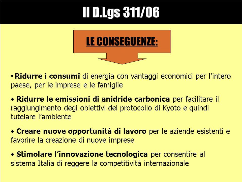 Il D.Lgs 311/06 corregge il precedente decreto 192/05