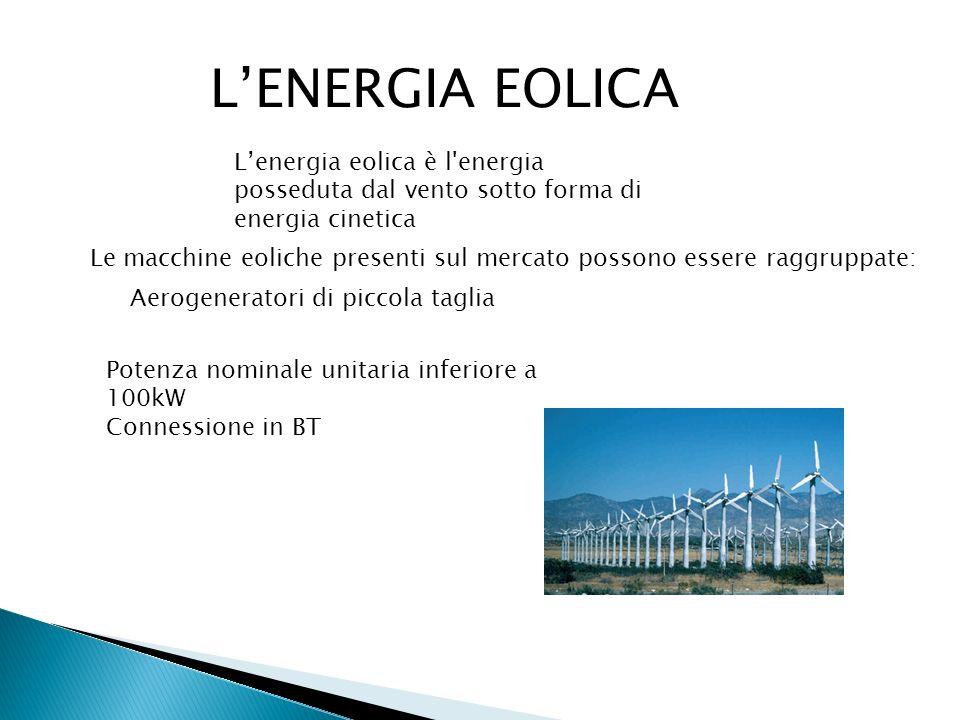L'ENERGIA EOLICA L'energia eolica è l energia posseduta dal vento sotto forma di energia cinetica.