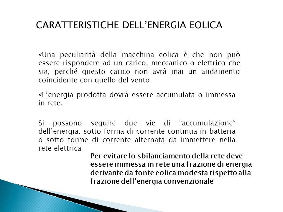 CARATTERISTICHE DELL'ENERGIA EOLICA