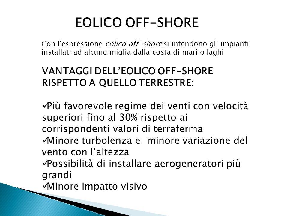 EOLICO OFF-SHORE Con l espressione eolico off-shore si intendono gli impianti installati ad alcune miglia dalla costa di mari o laghi.
