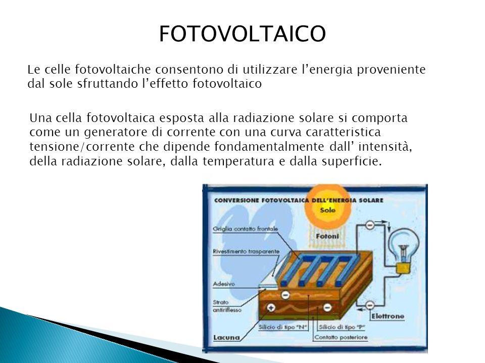 FOTOVOLTAICO Le celle fotovoltaiche consentono di utilizzare l'energia proveniente dal sole sfruttando l'effetto fotovoltaico.