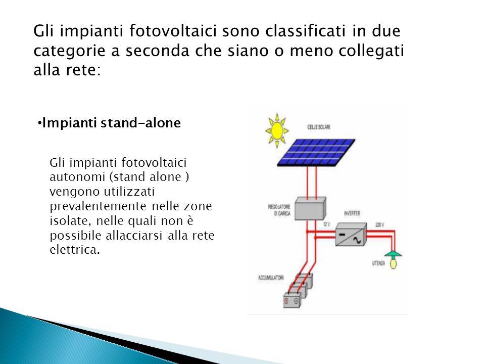 Gli impianti fotovoltaici sono classificati in due categorie a seconda che siano o meno collegati alla rete: