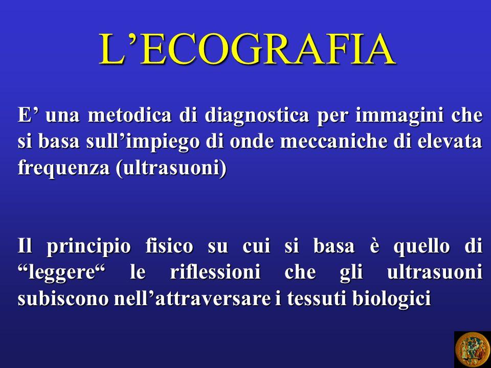 L'ECOGRAFIA E' una metodica di diagnostica per immagini che si basa sull'impiego di onde meccaniche di elevata frequenza (ultrasuoni)