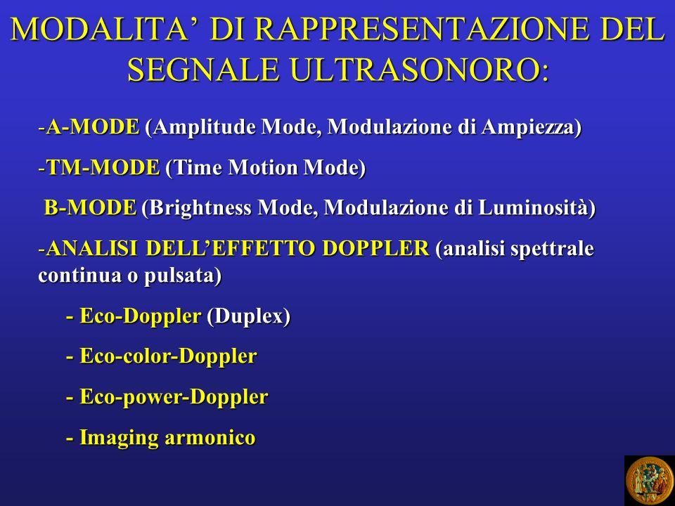 MODALITA' DI RAPPRESENTAZIONE DEL SEGNALE ULTRASONORO: