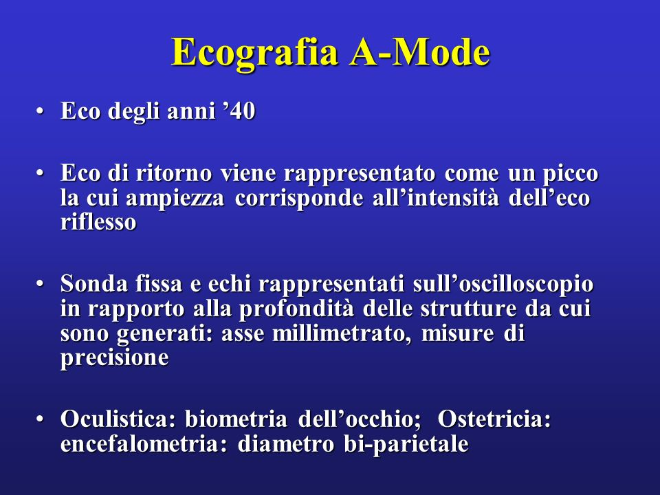 Ecografia A-Mode Eco degli anni '40
