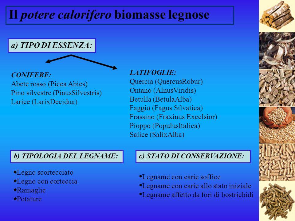 Il potere calorifero biomasse legnose