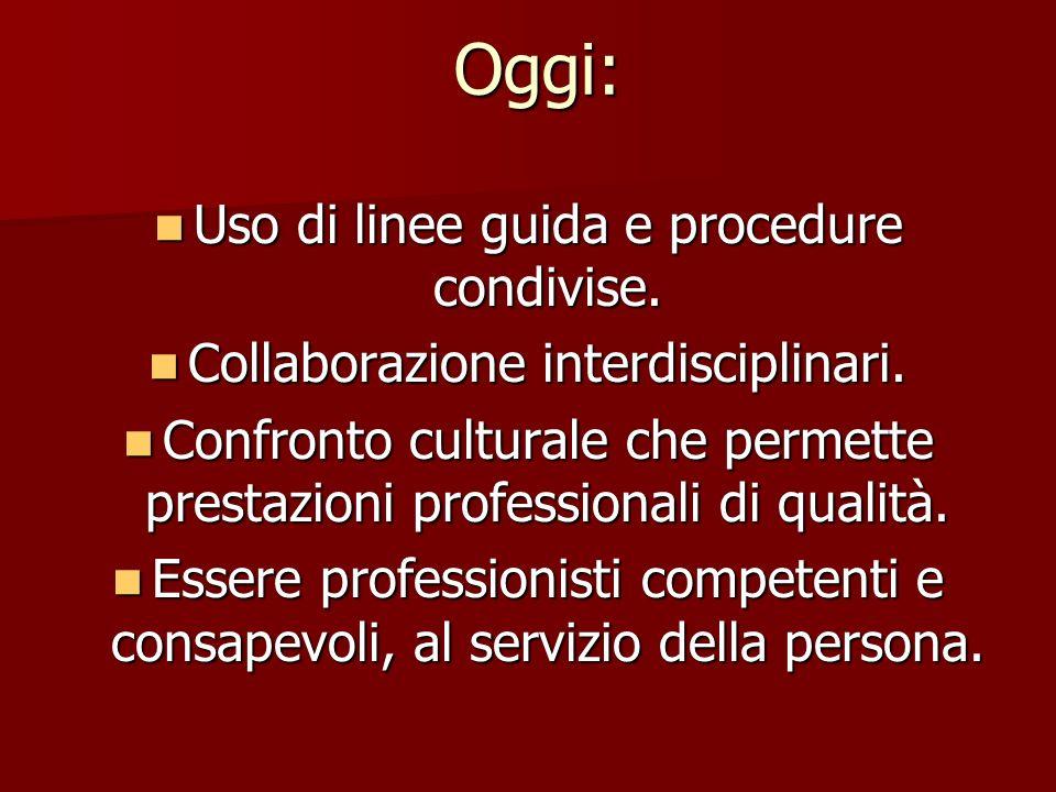 Oggi: Uso di linee guida e procedure condivise.