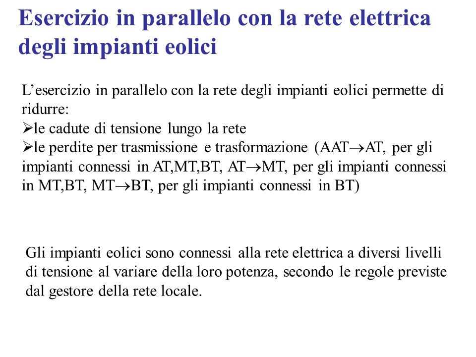 Esercizio in parallelo con la rete elettrica degli impianti eolici