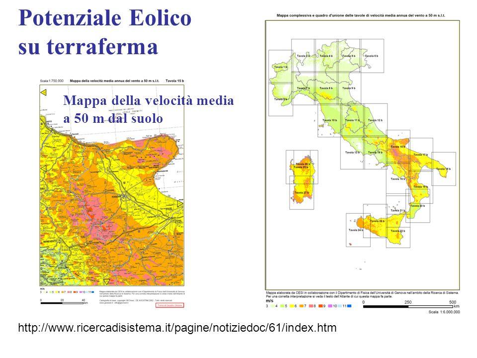 Potenziale Eolico su terraferma Mappa della velocità media