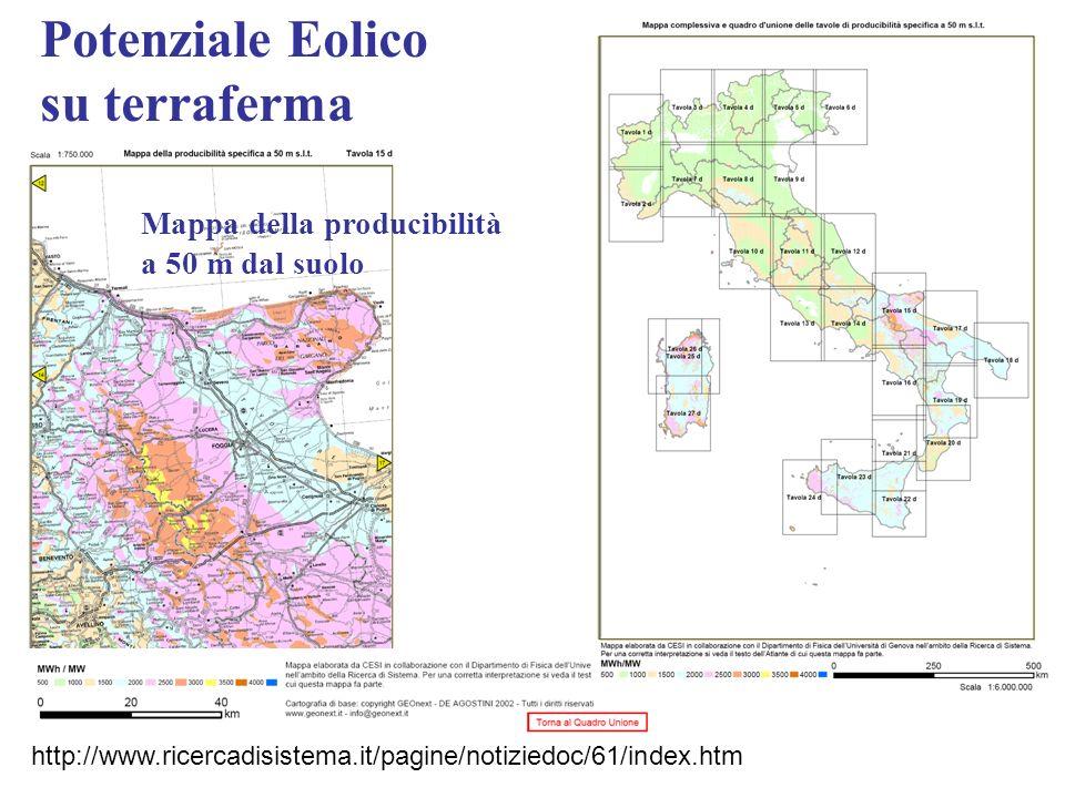 Potenziale Eolico su terraferma Mappa della producibilità