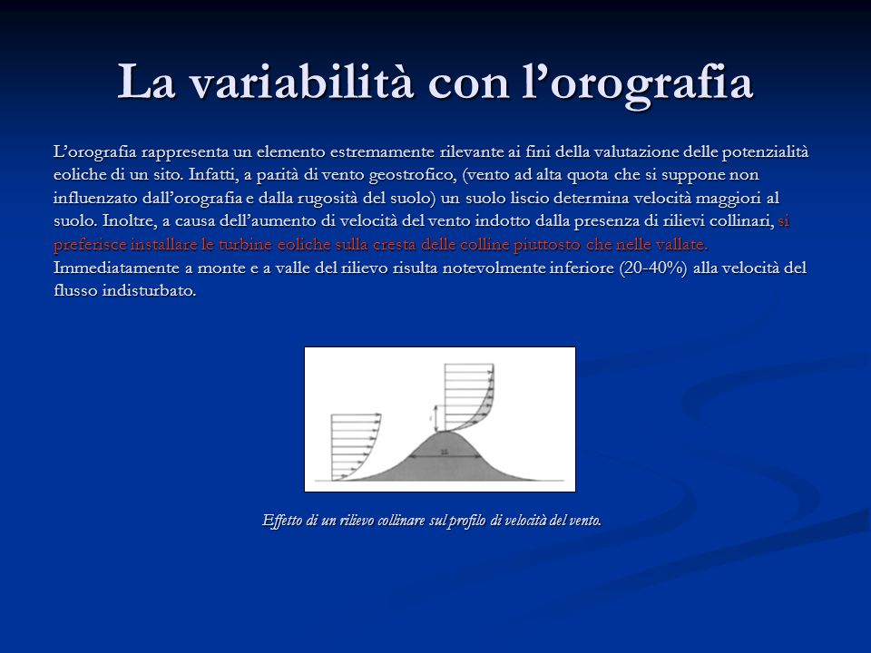 La variabilità con l'orografia