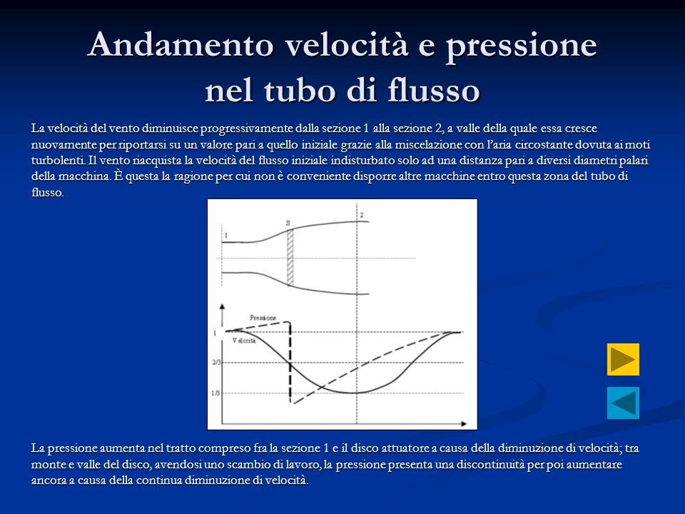 Andamento velocità e pressione nel tubo di flusso