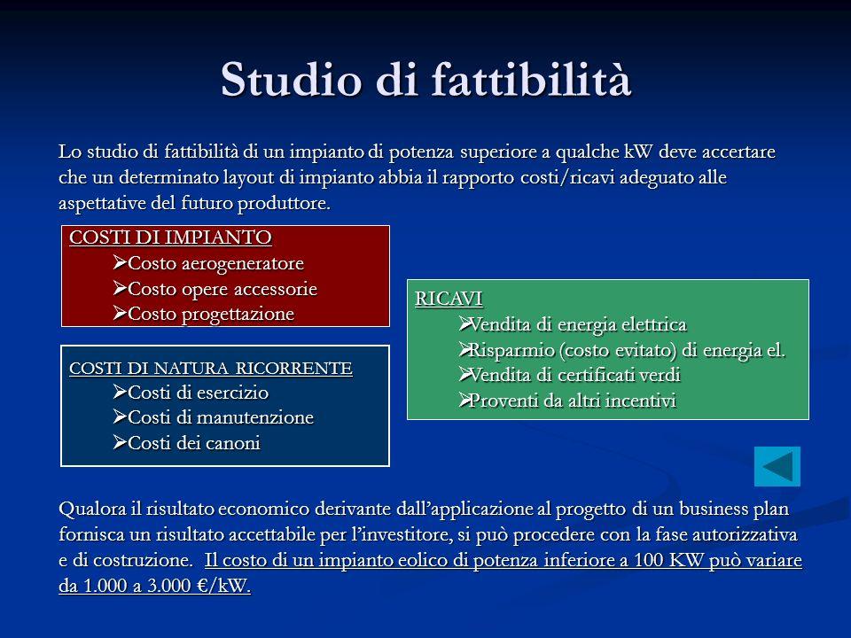 Studio di fattibilità Lo studio di fattibilità di un impianto di potenza superiore a qualche kW deve accertare.