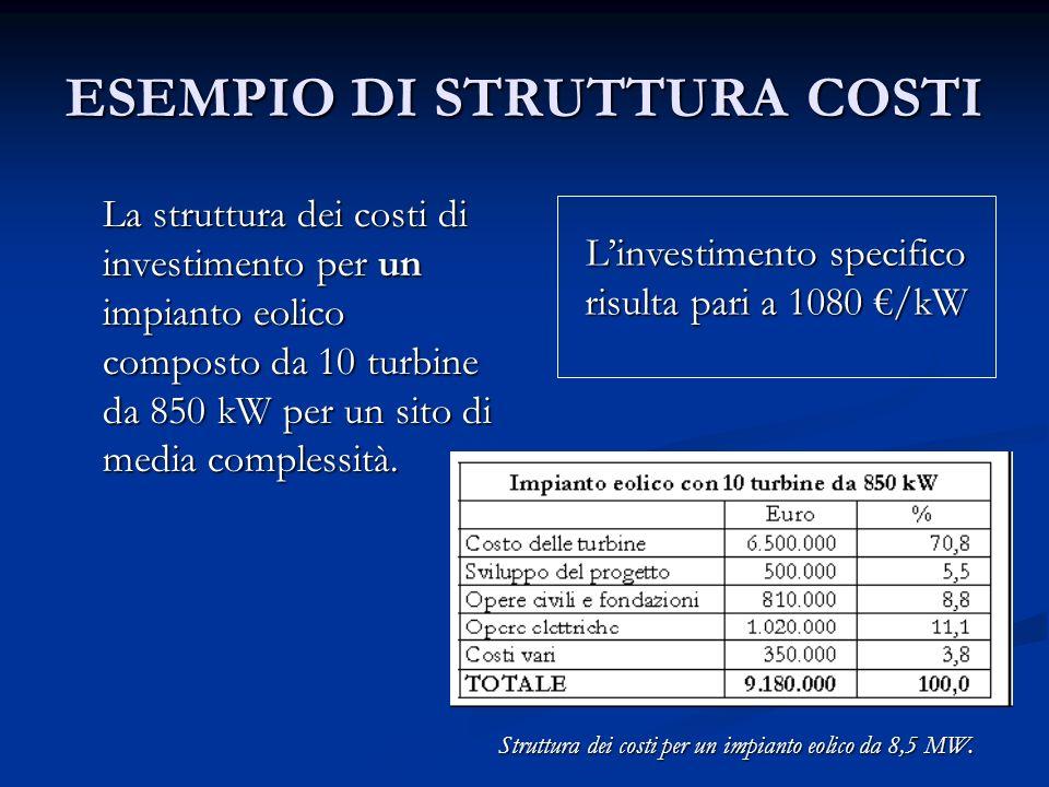 ESEMPIO DI STRUTTURA COSTI