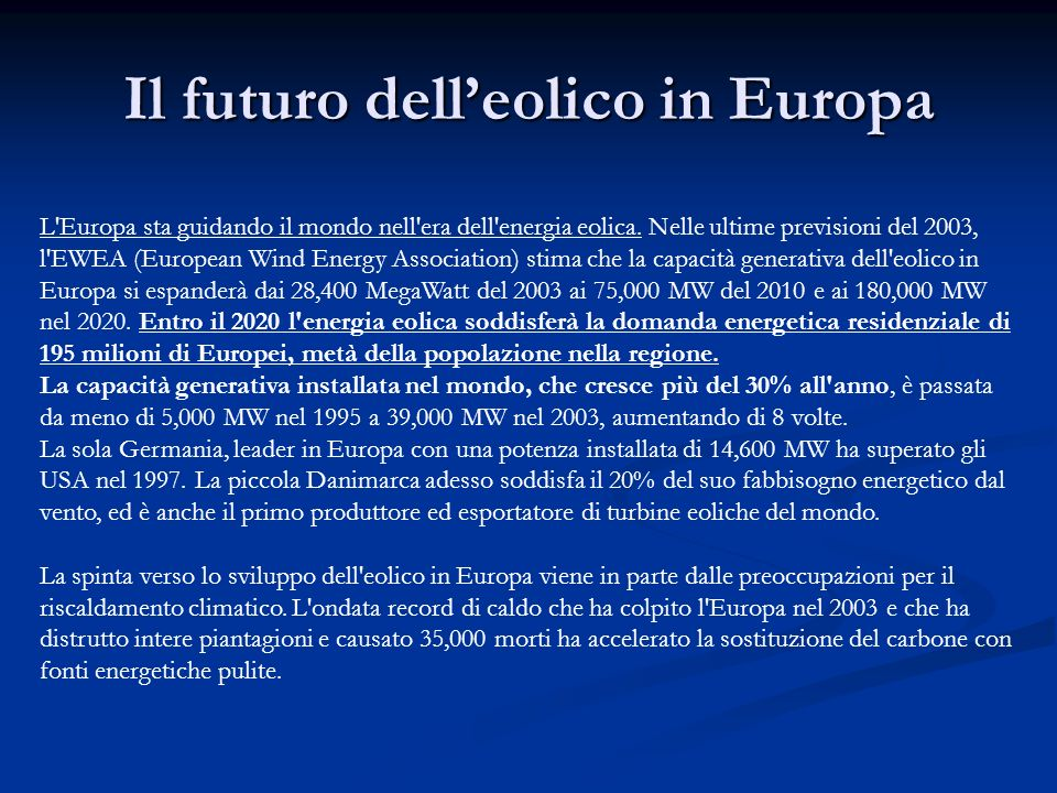 Il futuro dell'eolico in Europa