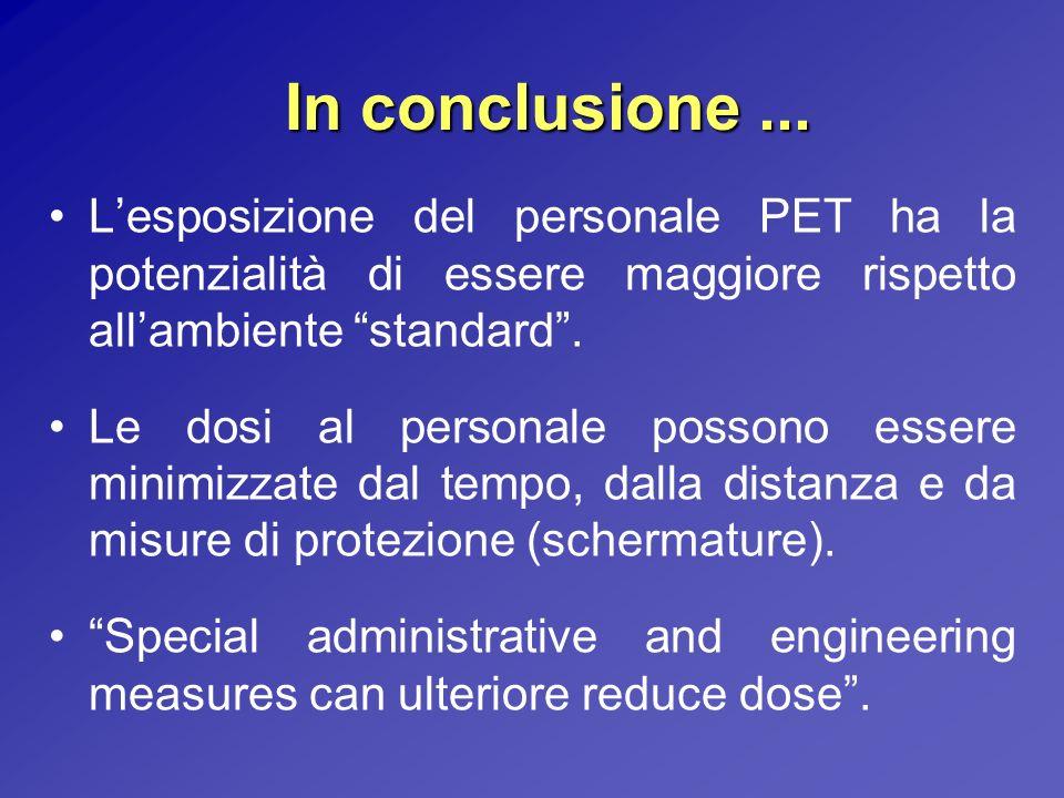 In conclusione ... L'esposizione del personale PET ha la potenzialità di essere maggiore rispetto all'ambiente standard .