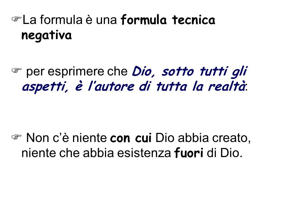 La formula è una formula tecnica negativa