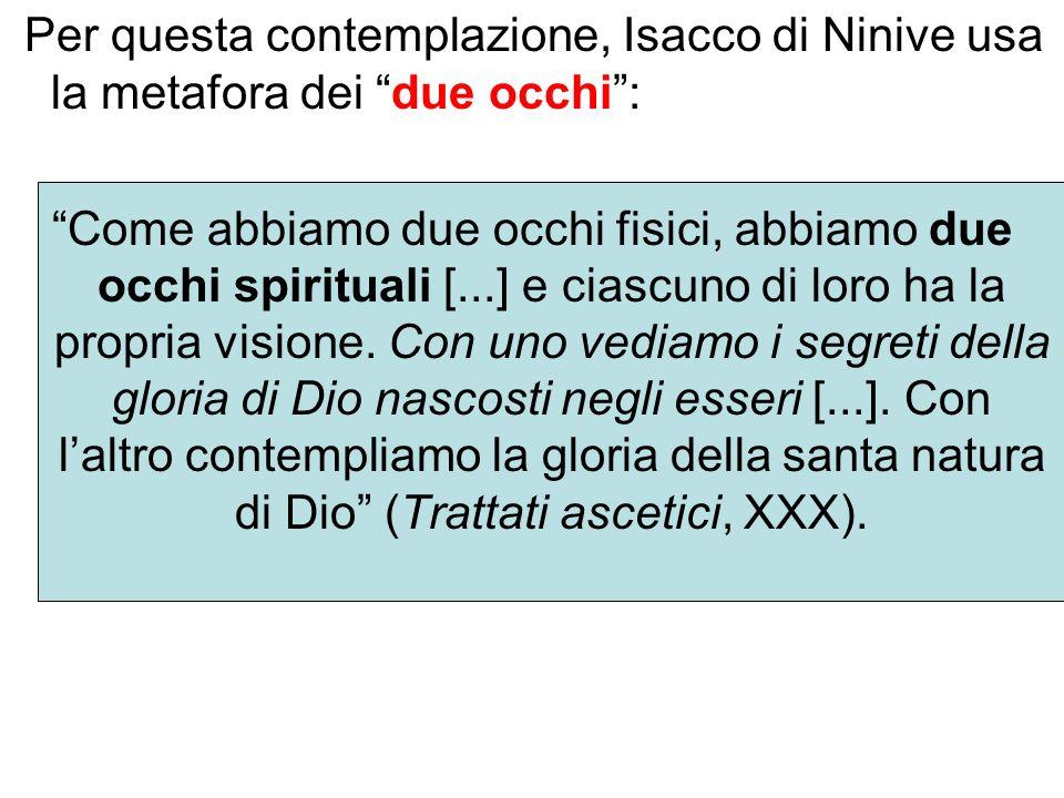 Per questa contemplazione, Isacco di Ninive usa la metafora dei due occhi :