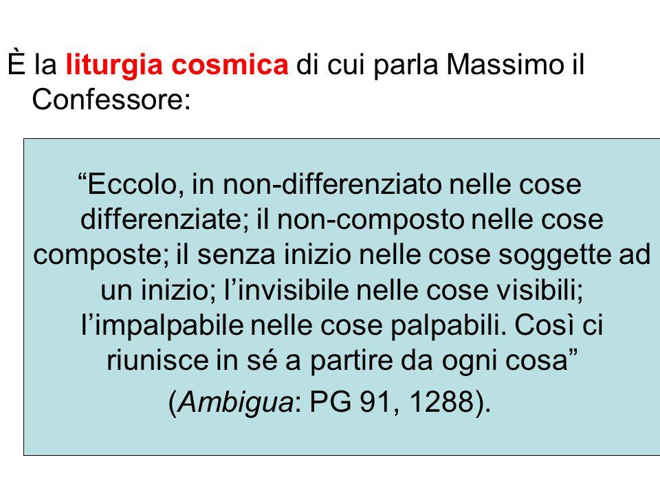 È la liturgia cosmica di cui parla Massimo il Confessore: