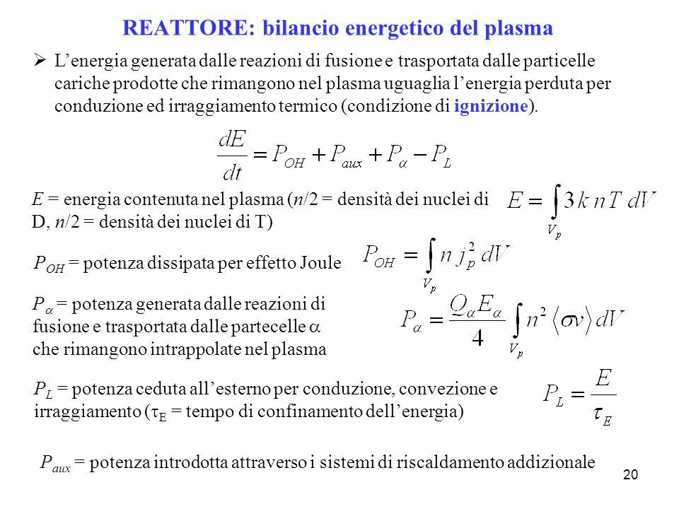 REATTORE: bilancio energetico del plasma