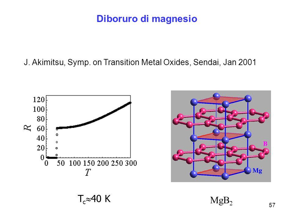 Diboruro di magnesio Tc40 K MgB2