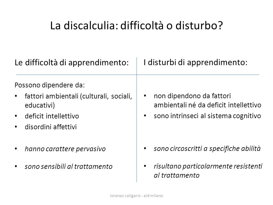 La discalculia: difficoltà o disturbo