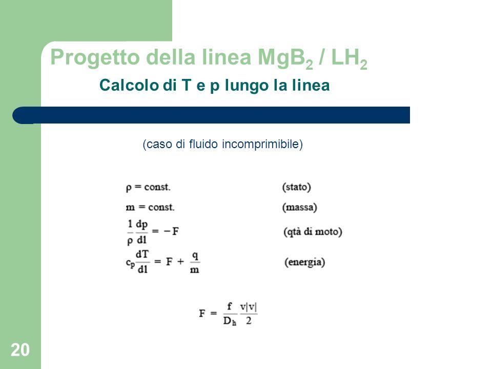 Progetto della linea MgB2 / LH2 Calcolo di T e p lungo la linea