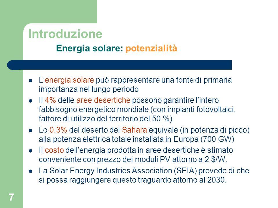 Introduzione Energia solare: potenzialità