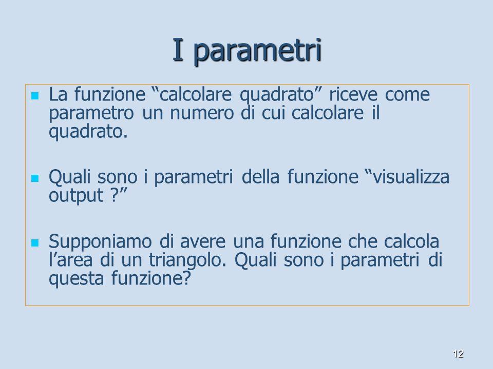 I parametriLa funzione calcolare quadrato riceve come parametro un numero di cui calcolare il quadrato.