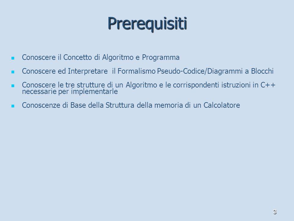 Prerequisiti Conoscere il Concetto di Algoritmo e Programma