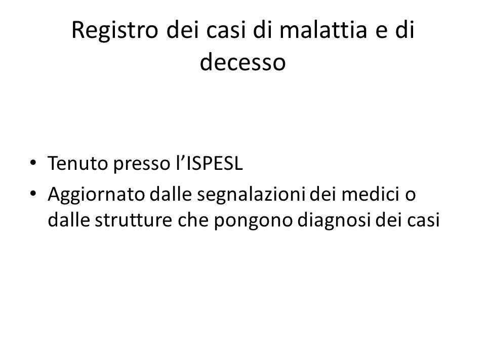 Registro dei casi di malattia e di decesso