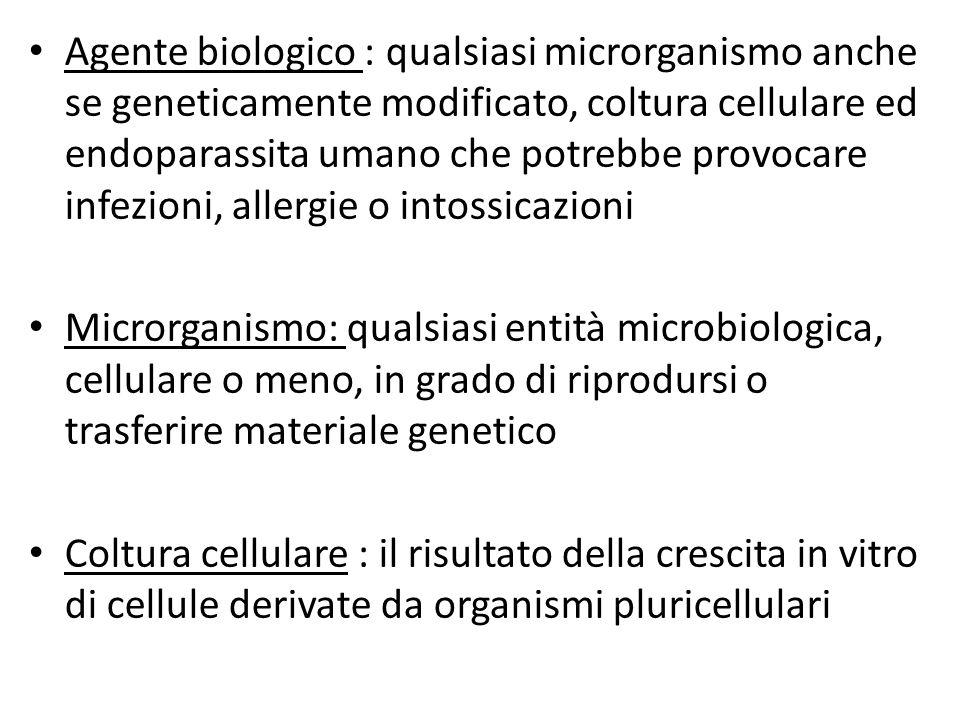 Agente biologico : qualsiasi microrganismo anche se geneticamente modificato, coltura cellulare ed endoparassita umano che potrebbe provocare infezioni, allergie o intossicazioni