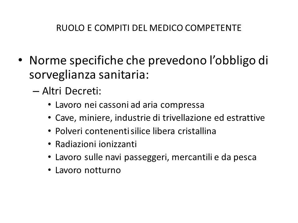 RUOLO E COMPITI DEL MEDICO COMPETENTE