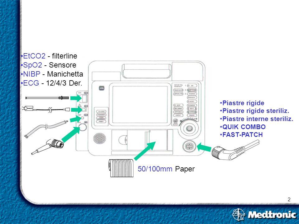 EtCO2 - filterline SpO2 - Sensore NIBP - Manichetta ECG - 12/4/3 Der.