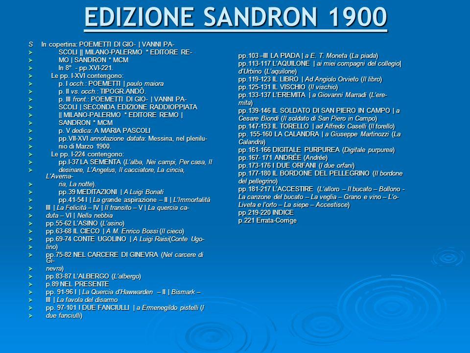 EDIZIONE SANDRON 1900 S In copertina: POEMETTI DI GIO- | VANNI PA-