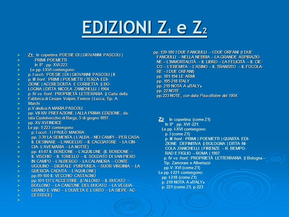 EDIZIONI Z1 e Z2 Z2 In copertina: (come Z1)